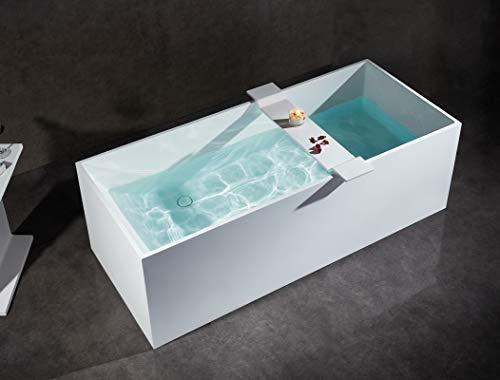 Freistehende Badewanne aus Mineralguss LUNA STONE weiß - 170 x 72 cm - Solid Stone - Zubehör optional
