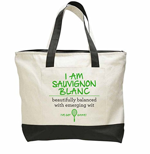 Heavy Canvas Tote Bag Zipper Top - Express the Essence of a Woman in Wine (Sauvignon Blanc)