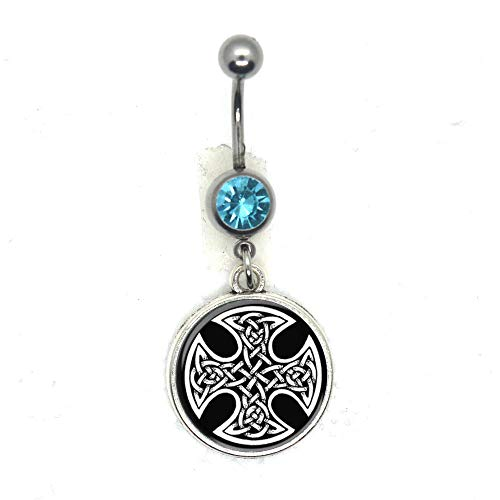 Celtic Cross Belly Button Ring,Celtic Jewelry,Celtic Knot Belly Ring.HTY-240