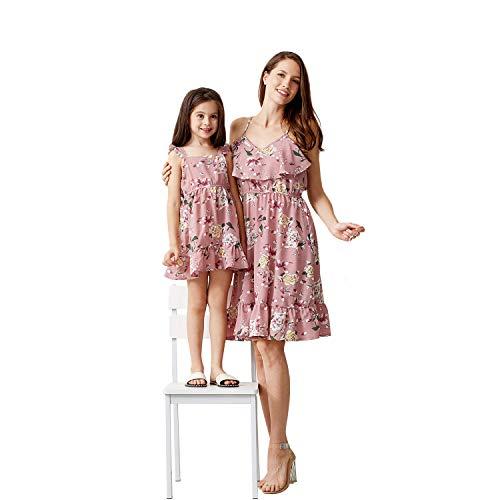 Yaffi Mama und ich passende Knie Kleid Outfit Sommer Floral Bedruckte Spaghettibügel Rüschen lässig langes Kleid Mädchen: 2 Jahre