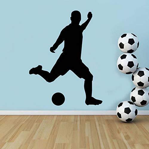 Jugador de fútbol de fútbol que juega fútbol pegatinas de pared de vinilo papel tapiz murales deportivos para niños habitación decoración para el hogar calcomanías 44x57 cm