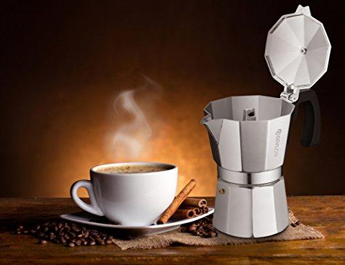 Stovetop Espresso Maker - Moka Pot, Aluminum Espresso Machine, 3 Cup, 2 Extra Gaskets Included, By Divlor