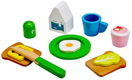Idena 4100101 - Kleine Küchenmeister Frühstück Set aus Holz, für Spielküche und Kaufmannsladen, ab 3 Jahre, ca. 24 x 18 x 6 cm