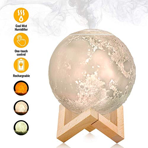 FCDAT Moon lamp humidifiers, LED Desktop Humidifiers 3 Colors Adjustable Brightness with Cool Mist Function, for Child Friends boy Girl Best Gifts