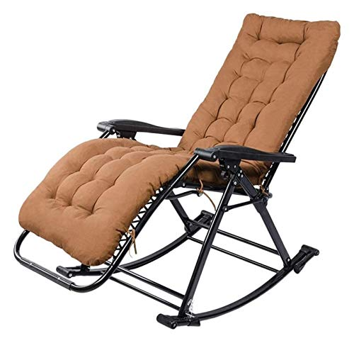 MTCWD Rocking Chair Ith Cushions Zero Gravity Chaise Lounges Patio Lounger Chair Outdoor Office Beach Folding Portable Recliner (Color : Brown)
