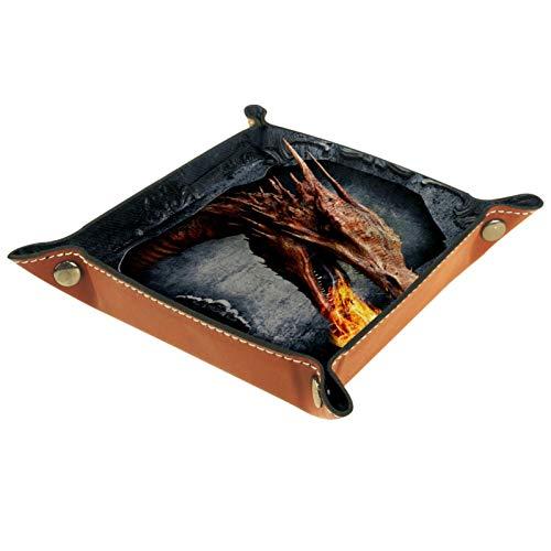 ATOMO Bandeja de almacenamiento de cuero con diseño de dinosaurio que respira fuego, fantasía, monstruo aterrador, joyería de monedas, organizador de artículos para mesita de noche, pequeña bandeja