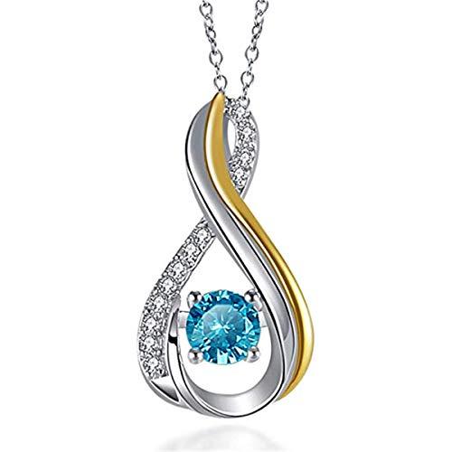 Caperci - Collana con Ciondolo a Forma di Infinito, in Argento Sterling, con Topazio Blu, Regalo per Donne, 40 + 5 cm
