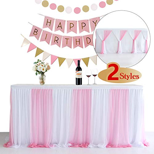 Chinaware 4ft Tulle Table Skirt for Rectangle Tables or Round Table Fluffy Tutu Table Skirt High-end Gold Brim Table Skirting for Party,Wedding,Birthday Party/&Home Decoration A