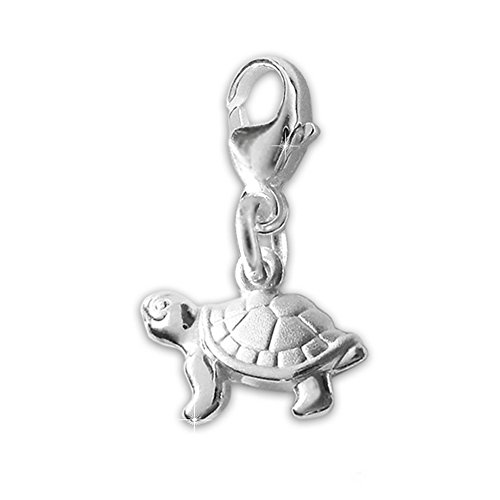 CLEVER SCHMUCK Silberner Charm Anhänger Mini Schildkröte 9 mm, beidseitig plastisch und glänzend Sterling Silber 925 in Geschenkfaltbox