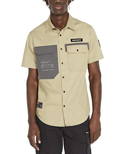 Avirex Men's Patch Pocket Officer Shirt, Tree House, Large