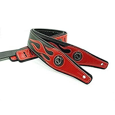 Black Red Flame Leather Heavy Metal Guitar Strap Only Guitar Straps