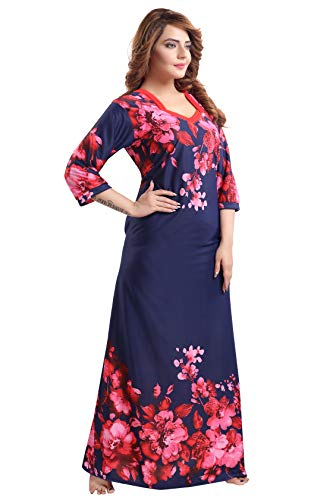 Fabme Women's Printed Flare Nighty with Long Sleeves / Night Gown / Nightwear / Maxi ( Naavy Blue, Red   XL )