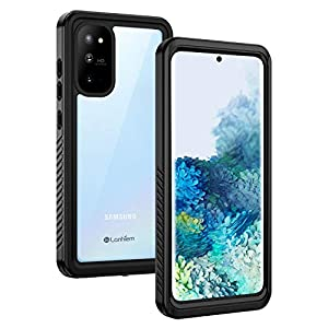 Lanhiem Samsung S20 Case, [Compatible with Fingerprint Sensor] IP68 Waterproof Dustproof Shockproof Full Body Protective Cover with Built-in Screen for Samsung Galaxy S20 - Black