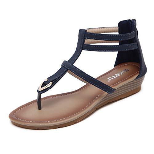 Hzyshoe Frauen Flache Sandalen, Peep Clip Toe Bohemia Römersandalen, Summer Beach Post Sandalen Flip Flops Flache Schuhe,Black,39