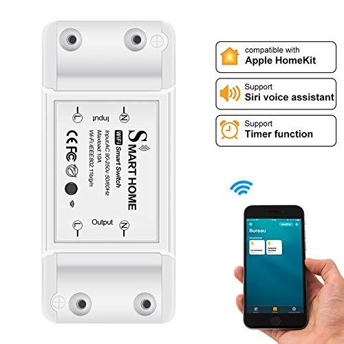 GASFW Interruptor de luz inalámbrico WiFi inteligente 10A, interruptor inalámbrico Control de voz Interruptor de control de aplicación de salida de temporizador remoto