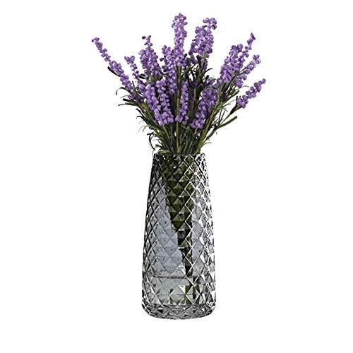 TEYU 1 pz Vaso in Vetro, Vaso Decorativo Floreale Moderno in Cristallo Trasparente Nero, Vaso di Fiori da Tavolo Decorativo Domestico Casa Ufficio Negozio Ristorante