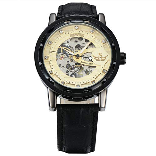 GSERA Reloj Reloj para Mujer Reloj Mecánico De Diamantes De Imitación Reloj para Mujer De Negocios con Correa De Cuero Ajustable