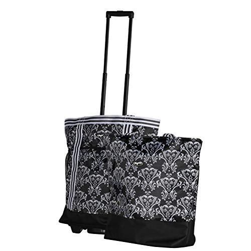 Olympia 2-Piece Rolling Shopper Tote and Cooler Bag, DAMASK BLACK