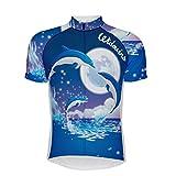 Maillot De Ciclismo Para Hombre Manga Corta,Verano Transpirable De Secado Rápido Impreso De Dibujos Animados Azul Delfín Jersey De Ciclismo De Montaña Ciclismo Camisa, Cremallera Completa Mtb Bic