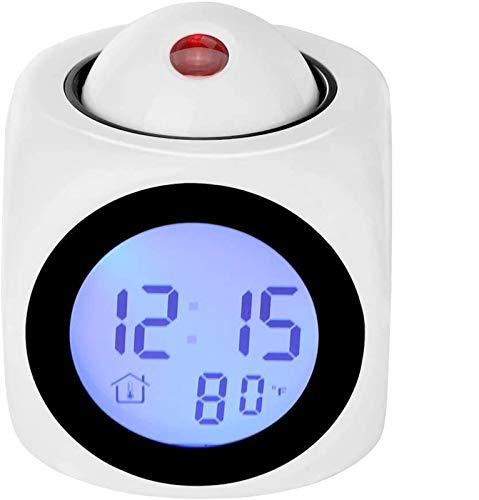 supermalls Projektions-Wecker, LED-Schreibtisch-Taktgeber mit Digital LCD Stimme spricht Funktion, Alarm, Snooze, Temperatur, Zeit (12H / 24H) Display