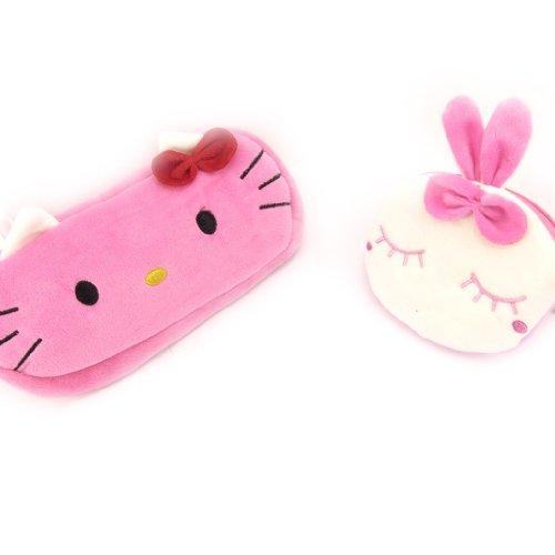 Hello Kitty [K8438] - Trousse et Porte-Monnaie 'Hello Kitty & Lapin Rose' Rose Blanc