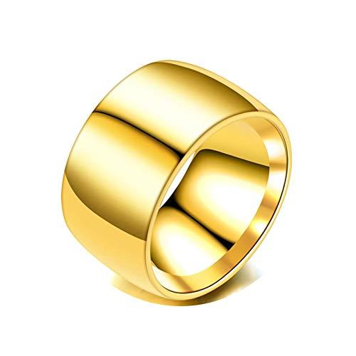 Bishilin Acero Inoxidable Clásico Anillos para Hombres Su Redondo Pulido Alto Pulido diarioPromesa Alianzas de Boda Anillo de Compromiso Regalos de Cumpleaños para EmpresasOro Talla:22