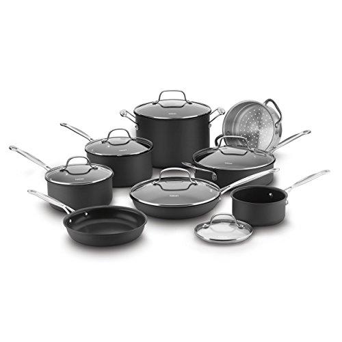 Cuisinart 14 Piece Chef's Classic Non-Stick Hard Anodized Cookware Set, Gray