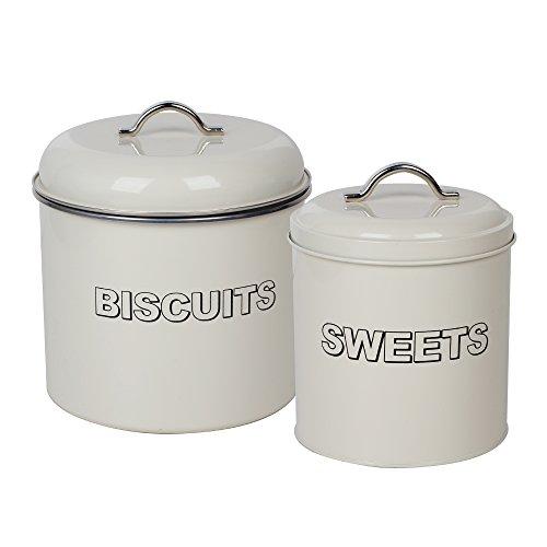 CrazyGadget Juego de latas de Galletas y Caramelos Vintage con diseño Retro de Metal para Cocina: Lata de Galletas y latas de Caramelos en Color Crema