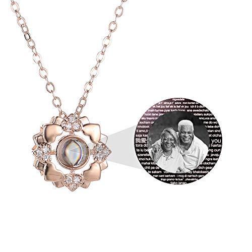 hjsadgasd Personalisierte Foto Ich Liebe Dich Halskette 925 Silber Rose Gold 100 Sprachen Projektion Anhänger Schlüsselbein Halskette