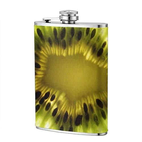 XBYC Kiwi Close Up Flasche für Alkohol und Trichter Edelstahlflasche zum Trinken von Alkohol, Whisky, Rum und Wodka 8oz