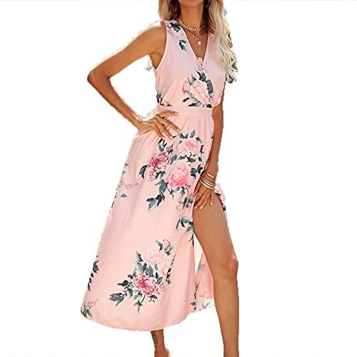 FrüHling Und Sommer Frauen Casual Hedging Sexy Cross V-Ausschnitt GroßE Blumendruck Split Kleid Langer Rock Frauen