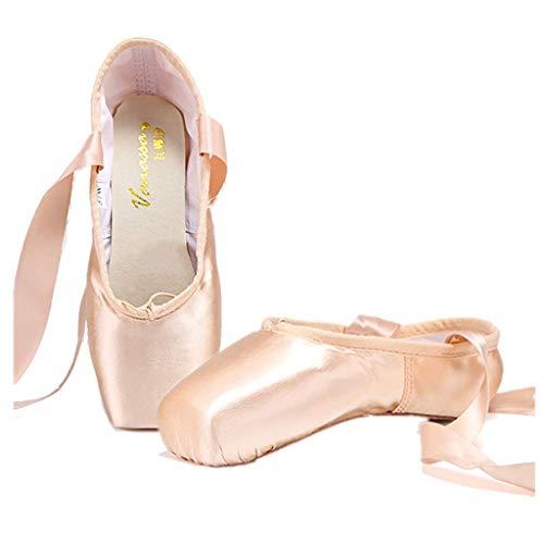 Nexete Professionelle Vanassa Ballettschuhe Spitzenschuhe Satin Dance Slipper Flats mit Zehenpolster für Mädchen Frauen, Pink (rose), 39 EU