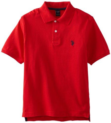 U.S. Polo Assn. Little Boys' Toddler Short Sleeve Pique Polo Shirt, Engine Red, 2T