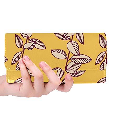 Einzigartige benutzerdefinierte Blumen Zeichnung Zweige Frauen Trifold Wallet Lange Geldbörse Kreditkarteninhaber Fall Handtasche