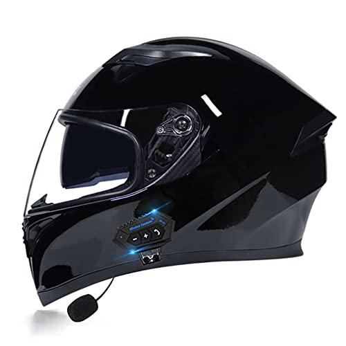 QXFJ Bluetooth Casco Integral Casco ProteccióN Aprobado por Dot/ECE Casco Moto Cascos Multiuso con Visera Solar Doble Adecuado para Motocicleta Scooter Ciclomotor