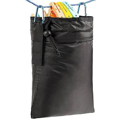 Tenrai Wäscheklammerbeutel, mehrere Aufhängemethoden, Wäscheklammerbeutel mit Kordelzug, große Öffnung, große Kapazität, Wäscheklammer-Aufbewahrung, Organizer mit Haken