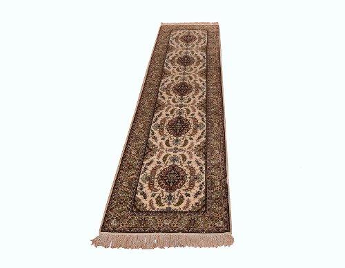 Klassischer handgeknüpfter Orient Teppich Hereke Seide aus China Läufer 305 x 76 cm