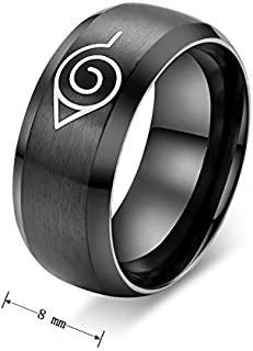 Anime Naruto Rings Simple And Fashion Mens Titanium Steel Rings Size US9