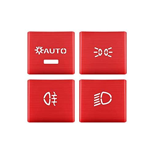 Botones De Control De Interruptor De Faro Lentejuelas Decoración Embellecedor De Cubierta para P-o-rsche para C-a-yenne 2018-2021 decoración Interiores (Color : Rojo) 🔥