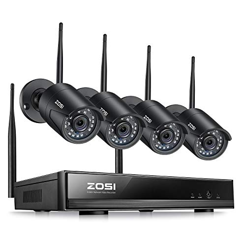 ZOSI 1080P Wireless Security Cameras System Outdoor Indoor with Night Vision, H.265+ 8CH Network Video Recorder (NVR) with 4 x 2MP Auto Match Weatherproof IP Cameras,No Hard Drive Included DVR Kits Surveillance