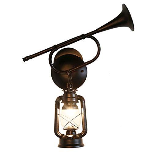 Rétro Corne Applique Fer Salon Allée Lampe de Lecture Antique Lampe à Kérosène Brun LED Source de Lumière
