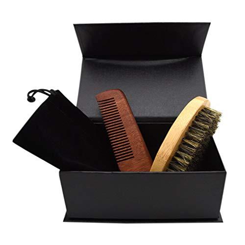 Boodtag Hommes Trousse de Beauté Barbe Kit de Toilettage Portatif - Brosse à Barbe + Peigne à Barbe + Sac de Rangement + Coffret Cadeau (Lot de 4)