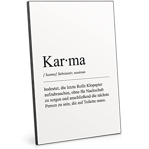 ARTFAVES® Holzbild - Worterklärung / Definition: Karma (WC)   schwarz-weiss Deko Wandbild als Geschenk   Holzschild mit Spruch zum Thema Bad / Badezimmer / WC / Toilette / witzig