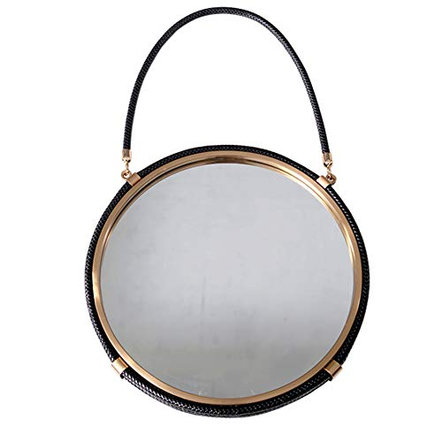 C-qing ronde decoratieve spiegel van geborsteld metaal met Fuax-lederen rand en riem voor slaapkamer- en badkamer-cosmeticaspiegel met gouden afwerking, 17 inch