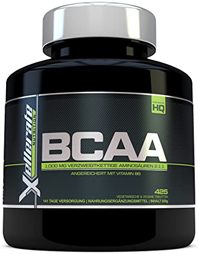 BCAA Tablette 1000 mg   425 Tabletten   3000 mg Tagesbedarf   141 Tage Vorrat   2:1:1 Mehrkettiges Aminosäuren-Nahrungsergänzungsmittel + B6 - Zutaten Beinhalten L-Leucin, L-Isoleucin, L-Valin