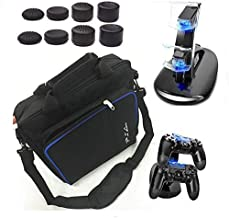 PS4 Console Game System Bag Travel Storage Carry Case + Dual Charger Station for PS4 Slim Playstation 4