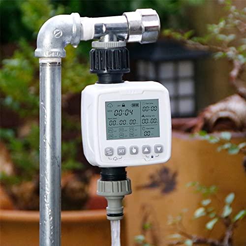 PEALOV Controlador De Riego Sensor Lluvia,Temporizador De Agua para Manguera De Jardín A Prueba De Agua,Sistema De Riego Totalmente AutomáTico,Modo De Bloqueo para Niños,Aspersor De Riego para Jardín