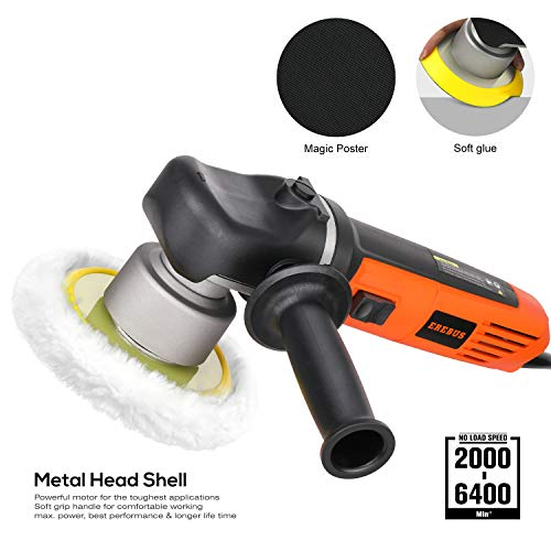 EREBUS 6'' Variable Speed Car Polishing with Detachable Auxiliary Handle and Foam Pads for Sanding, Waxing, Buffing (6840P)
