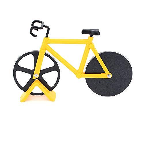 Fahrrad Pizzaschneider Rad Fahrrad Pizza Slicer Dual Edelstahl Küche Fahrrad Pizzaschneider Werkzeuge (Gelb)