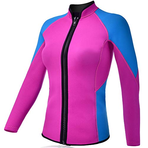 REALON Wetsuits Top Jacket Vest Mens Women 2mm Neoprene Long Sleeve/3mm Sleeveless Shirt Front Zip Sports XSPAN for Scuba Diving Surf Swimming Snorkel Suit